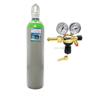 Schutzgas 20 Liter Flasche/NEUE Gasflasche (Eigentumsflasche), gefüllt mit Mischgas 82% Argon 18% Co2 /10 Jahre TÜV/EU Zulassung/PROFI-Schweißgas MAG - Import mit Druckminderer