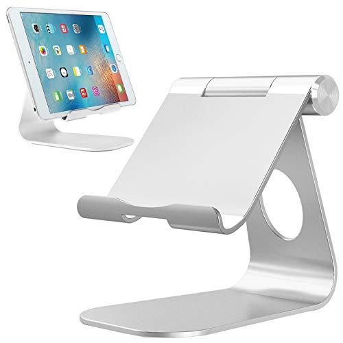 Da-upup Klappbar Laptoptisch Aluminiumständer Verstellbarer Handyständer, stabile Basis und praktischer Ladeanschluss, für alle Smartphones, E-Reader und Tablets (4-13 Zoll), Silber (Ereader Laptop-tisch)
