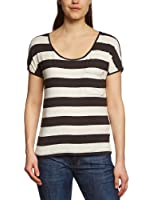ONLY Damen T-Shirt 15073101/EMMA STRIPE SQUARE TOP JRS BB, gestreift