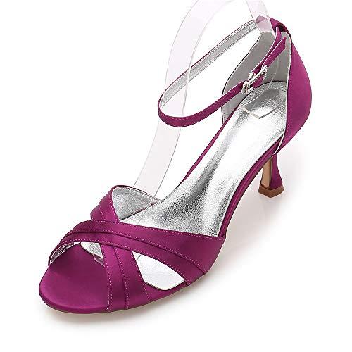 AIMISHOES Gekreuzte Bänder Peep Toe Lady Satin Abendkleid Schuhe Einfache Mode Lady Heels Cocktail Prom,lila,40 Lila Womens Heels