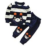 SMARTLADY 2-5 años Niño Niña Oso Rayado Patrón Tops + Pantalones Otoño/ Invierno Ropa Conjuntos (4 años, Navy)