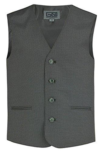GATO NEGRO Graue Anzug-Weste - Gr. 128 - 176 Anzug-Weste,Kinder-Weste, Jungen-Anzugweste dunkelgrau,152 (Nadelstreifen Herren Weste)