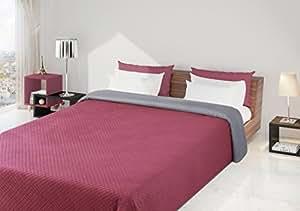 170x210 silber amaranth Tagesdecke Bettüberwurf Steppbettüberwurf Steppung zweiseitig silver amaranth Filip
