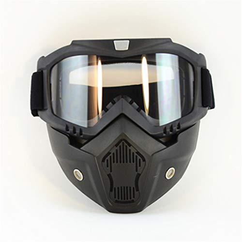H-MetHlonsy Ski Bike Motorrad Camouflage Gesichtsmaske Brille Motocross Motorrad Motor offenes Gesicht abnehmbare Brille Helme Vintage Brille A (Helm Snowboard Fox)
