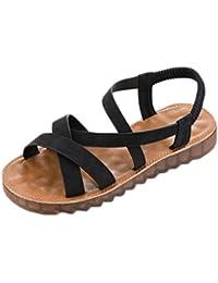Moda Sandalias Mujer Verano Clasico Mujer Moda Roma Sandalias Planas Suaves Zapatos de Punta Redonda de