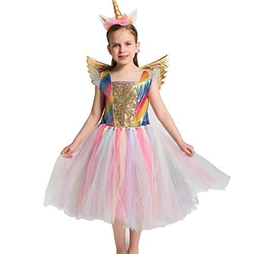Einhorn-Kostüm, Netz-Tüll, Tutu-Kleid, Mädchen, Kostüm, Halloween, Geburtstag, Motto-Party, Cosplay (M, Rainbow Tulle)