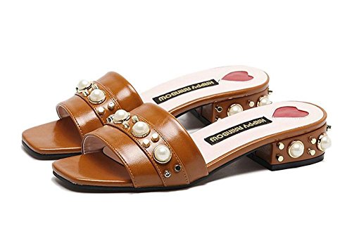 SHINIK Women Pu Sandales solides Open Toe Pearl Rough Word Dragged Half Drag Femme Sandales Mule Chintillons Low Heel Shoes Chaussures de plage Apricot Khaki Black Khaki