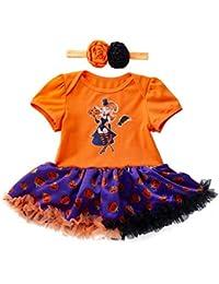 2018 Ropa De Bebé Halloween Pumpkin Dress Cosplay Disfraz ConjunClothing to Body Girl + Diadema (3-18Meses)