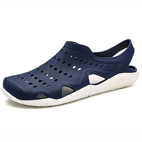 ZHANGRONG- Sandales dété pour hommes sabots Mules jardin à séchage rapide marche plage piscine anti-dérapant chaussures deau intérieur extérieur pantoufle ( Couleur : Noir , taille : 43 ) Bleu