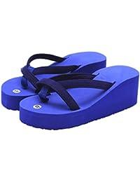 Ba Zha Hei-Sandalias Sandalias Mujer Verano, Zapatillas Plataforma Antideslizante Para Chanclas de Playa de Tacón Alto de Moda de Estilo de Verano Las Mujeres De Tacón Alto Zapatos