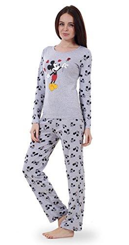 Image of Ladies Long Sleeve Snoopy Pyjama Set Womens Mickey Minnie Mouse PJ's Nightwear (Mickey Mouse) (Large- UK 16/18)
