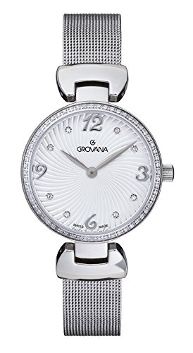 Grovana-Orologio da donna al quarzo con Display analogico e cinturino in acciaio INOX color argento 4485,7132