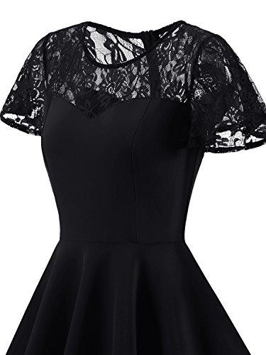 IVNIS Damen Spitze Vintage Kleid 50er Rockabilly A-Linie Kurzarm Brautjungfernkleid Cocktail Partykleid Schwarz