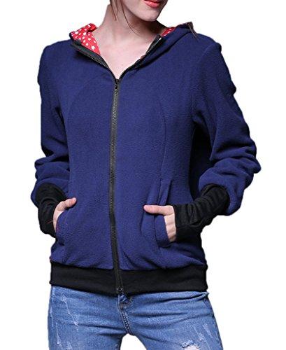 Smile YKK Sweat-shirt A Capuche de Maternité de Femme Veste Pour la Porte-bébé Multifonction Bleu