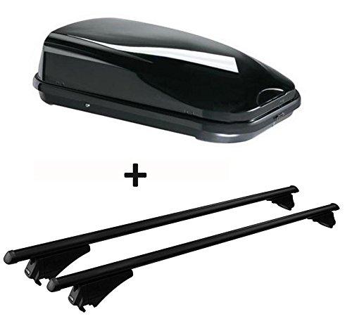 Dachbox schwarz VDP JUFL320 Stabiler Auto Dachkoffer 320 Liter abschließbar + Alu-Relingträger Dachgepäckträger für aufliegende Reling im Set für Hyundai ix35 ab 10