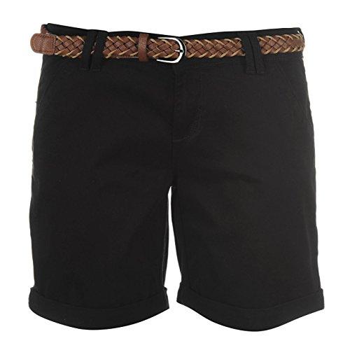 Kangol Damen Chino Shorts Mit Guertel Sommer Kurze Hose Taschen Umgeschlagen Saum Schwarz