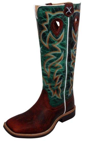 Twisted X Jungen türkis Buckaroo Cowboystiefel quadratisch Fuß–ybk0005, (cognac), 37 EU (Buckaroo Leder Stiefel)