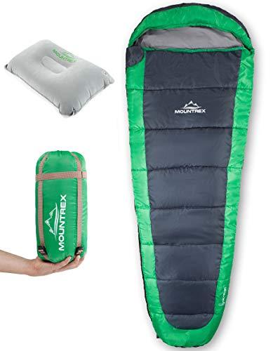 MOUNTREX® Schlafsack – Ultraleicht & Kompakt (850g) | Outdoor Mumienschlafsack - 205x75cm | Kleines Packmaß | GRATIS Reisekissen (Grün)