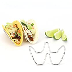 2LB Depot Taco Holder, Taco Stand, Taco Rack, Premium 18/8 Stainless Steel, Taco Holders Hold 2 Hard or Soft Shell Tacos, Set of Two