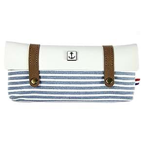 Brosuper Creative-Astuccio per matite, stile Vintage, colore: blu Navy, in tela, stile marinaro, in lino, a righe, Retro-Astuccio portapenne con custodia blu