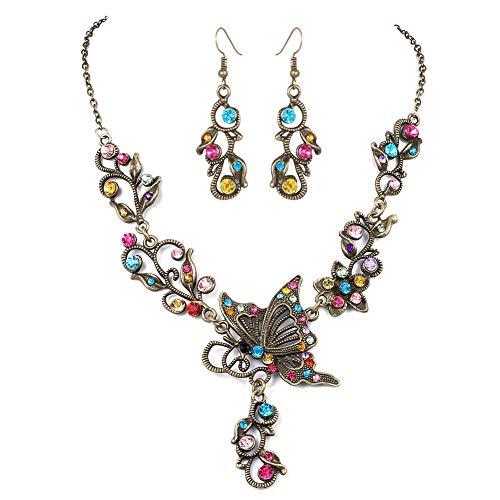 tterling Strass Halskette Set Temperament Wild Gem Set Party Kleid für Frauen M Bunt ()
