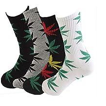 TTD 4 packs unisex hoja de malezas impresa algodón calcetines hoja de arce impreso calcetines atletismo