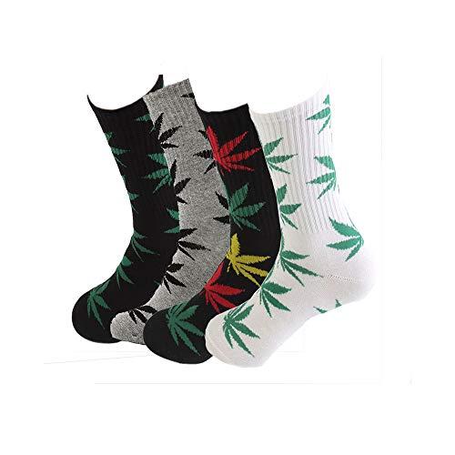 TTD 4 Packs Calzini in cotone stampato foglia di Weed Unisex Calzini stampati in foglia di acero Calzini sportivi in lega di Marijuana