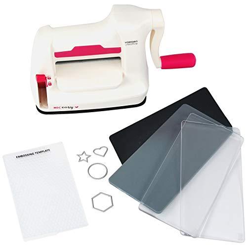 Vaessen Creative Mini Fustellatrice e Macchina per Goffratura Starter Kit, Bianco/Rosa, 12.5 x 21 x 9.5 cm