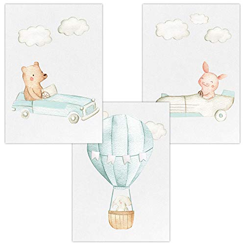 Wandbilder 3er Set für Baby & Kinderzimmer Deko Poster Autos & Heißluftballon | Kunstdruck DIN A4 ohne Rahmen und Dekoration (Autos & Heißluftballon, Bär, Ferkel, Elefant)