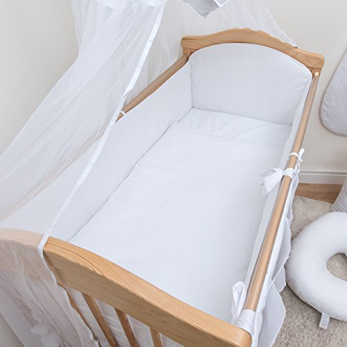 3 Pcs Nursery Bedding Set , All-round Bumper (Fits Cot 120x60 cm, Colour White)