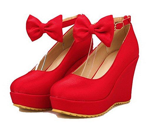 AgooLar Femme Matière Souple Couleur Unie Boucle Rond à Talon Haut Chaussures Légeres Rouge