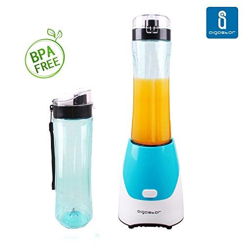Aigostar-Batidora-de-vaso-porttil-para-smoothies-batidos-y-picadora-de-frutas-Color-verde-Libre-de-BPA-Potencia-de-300W-Incluye-2-vasos-de-600-ml-de-capacidad-y-2-tapas