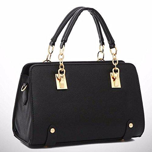 Frauen-Handtaschen-Schulter-Beutel-Taschen-Leder Quermuster Shapely Umhaengetasche Schwarz