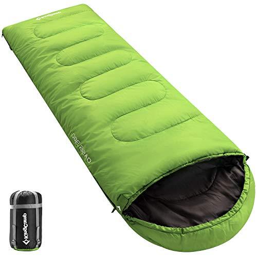 KingCamp Oasis Saco de Dormir de 3 Estaciones 4 Tamaños Disponibles (Niño, Adulto, Extragrande y Doble Extragrande) en 6 Colores (Adulto 220 x 75cm 4 Temporada, Verde R)