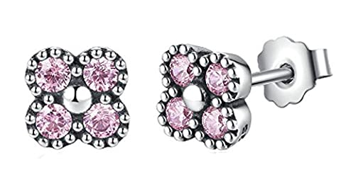 SaySure- 925 Sterling Silver Earrings Pink Silver Clear