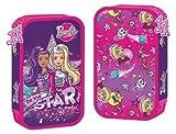 Kinder Federtasche BARBIE STAR Federmappe 21 x 12 cm Federmäppchen für Mädchen zwei große Fächer Doppelreißverschluss 26-teiliges gefüllt