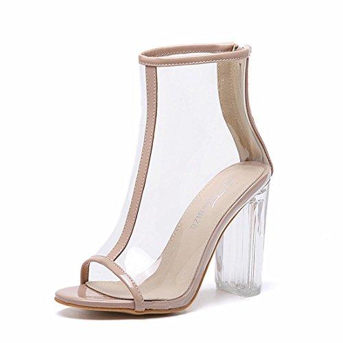 Damen Neue Sandalen Schuhe Rough High Crystal Ferse Fisch Mund Transparente PU Herbst Frühling Sommer Nachtclub Party Work , apricot , EUR 38/ UK 5.5 (Athletic Soft-toe-oxford)