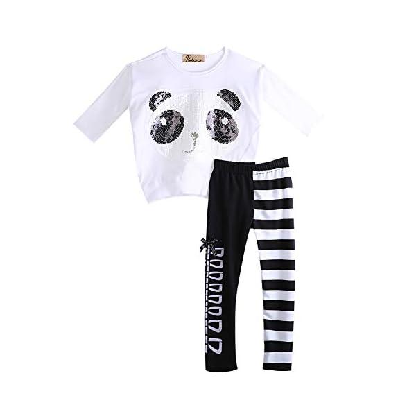 Chidlren - Conjunto de 2 Piezas de Ropa de otoño para niñas con Mangas largas y Pantalones a Rayas 1