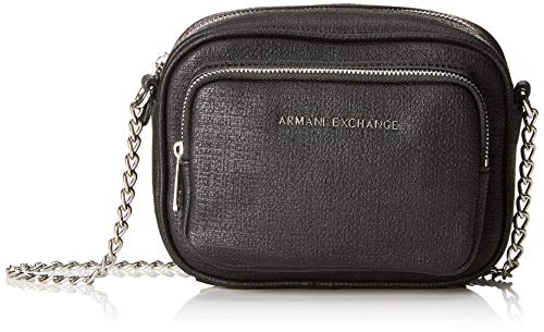 Armani Exchange Damen Small Cross Body Bag Umhängetasche, Schwarz (Nero), 14.0x6.5x18.0 cm