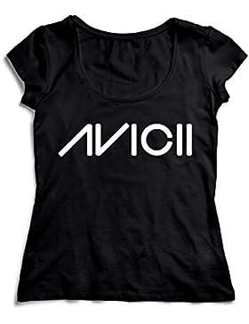 MyMerchandise Avicii Logo Black Nero Black Camicetta Camicia Top T-Shirt Shirt per Donna Women's 100% Cotone Donna