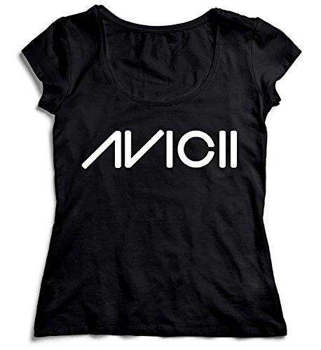 MYMERCHANDISE Avicii Logo Black Damen T-Shirt Black Men's Shirt Baumwolle Cotton Damen SM Women Black T-Shirt - Tragen Sie Augen-palette