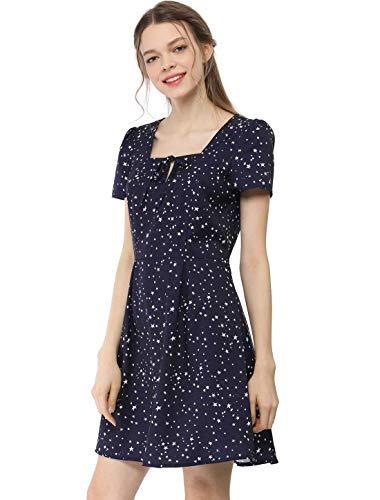 Allegra K Damen A Linie Kurzarm Square Neck Sterne Minikleid Kleid Blau S (EU 38) Pleated Square Neck