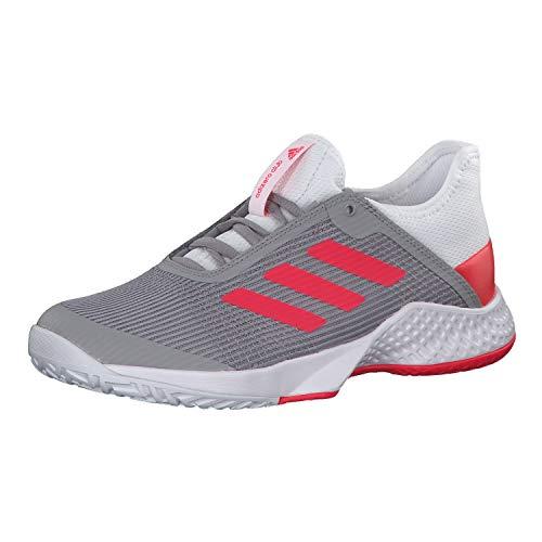 adidas Damen Adizero Club W Fitnessschuhe, Mehrfarbig (Ftwbla/Rojsho/Grasua 000), 38 2/3 EU (Damenschuhe Adidas Tennis)