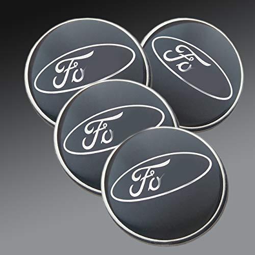 Aufkleber für Legierungs-Radnaben, mit Ford-Logo, 60mm, Epoxidharz, schwarz, 4-teiliges Set ()