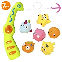 Anpress Baby Bath Toy Kids Fishing Game Bathtub Floating Squirts Toy with Magnetic Fishing Rod 6 Sea Characters Mesh Bag (7 Pack)