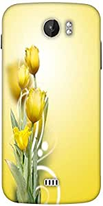 Snoogg Beautiful Yellow Tulips Background Designer Protective Back Case Cover For Micromax A110