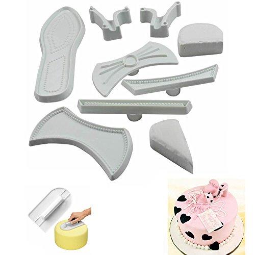 MAXGOODS 9Pcs 3D Moldes Extracción Fondant Corta