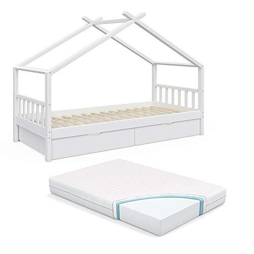 Vicco Kinderbett Hausbett Design 90x200cm INKL SCHUBLADEN Kinder Bett Holz Haus Schlafen Hausbett Spielbett Inkl. Lattenrost (Weiß lackiert mit Matratze)