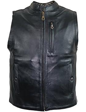 Hombre Moto Chaleco piel negro negro xxx-large