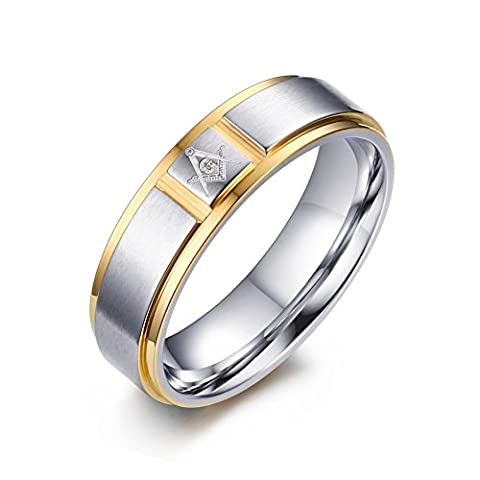 Vnox Men's Stainless Steel Free Mason Masonic Band Ring with 2 Line Gold,6mm Width,UK Size R 1/2